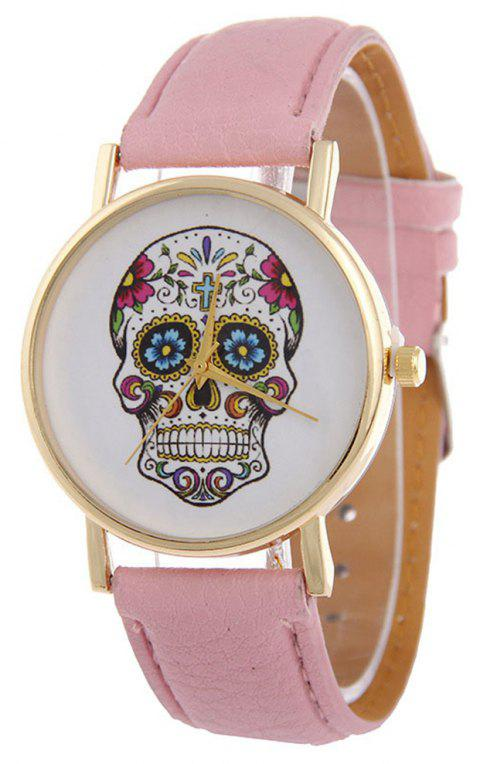 Casual Fashion Personality Leather Band Men Watch - LIGHT PINK