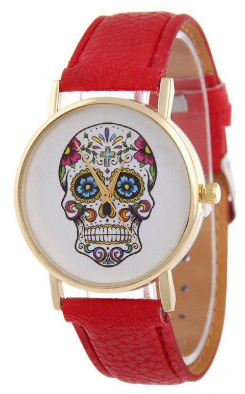Casual Fashion Personality Leather Band Men Watch - RED