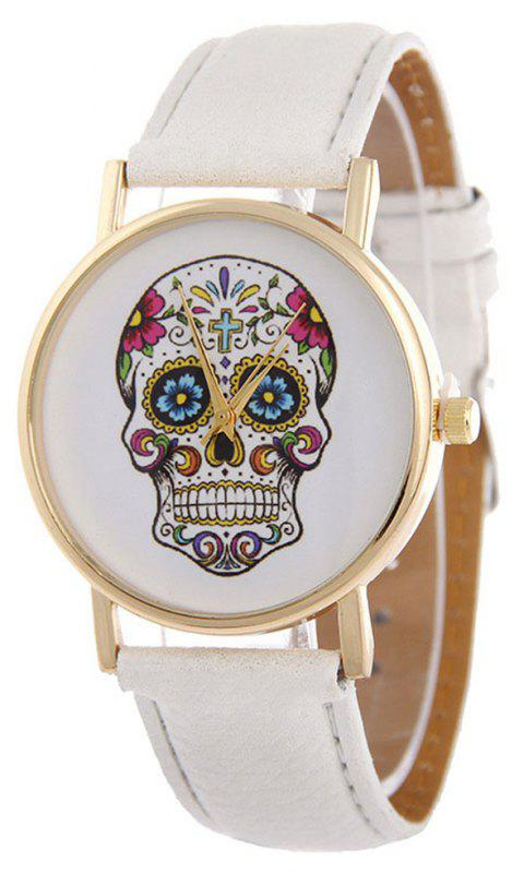Casual Fashion Personality Leather Band Men Watch - WHITE