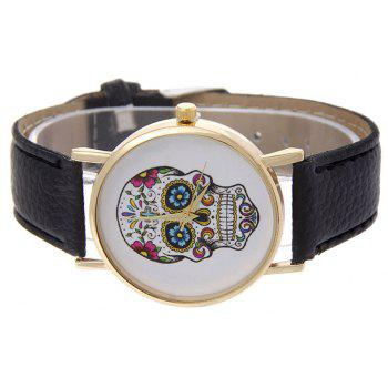 Casual Fashion Personality Leather Band Men Watch - BLACK