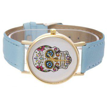 Casual Fashion Personality Leather Band Men Watch - DAY SKY BLUE