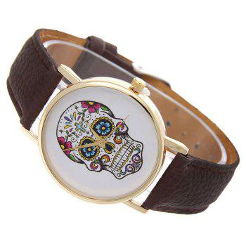 Casual Fashion Personality Leather Band Men Watch - BROWN