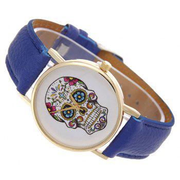 Casual Fashion Personality Leather Band Men Watch - BLUE