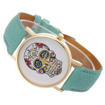 Casual Fashion Personality Leather Band Men Watch - BLUE GREEN