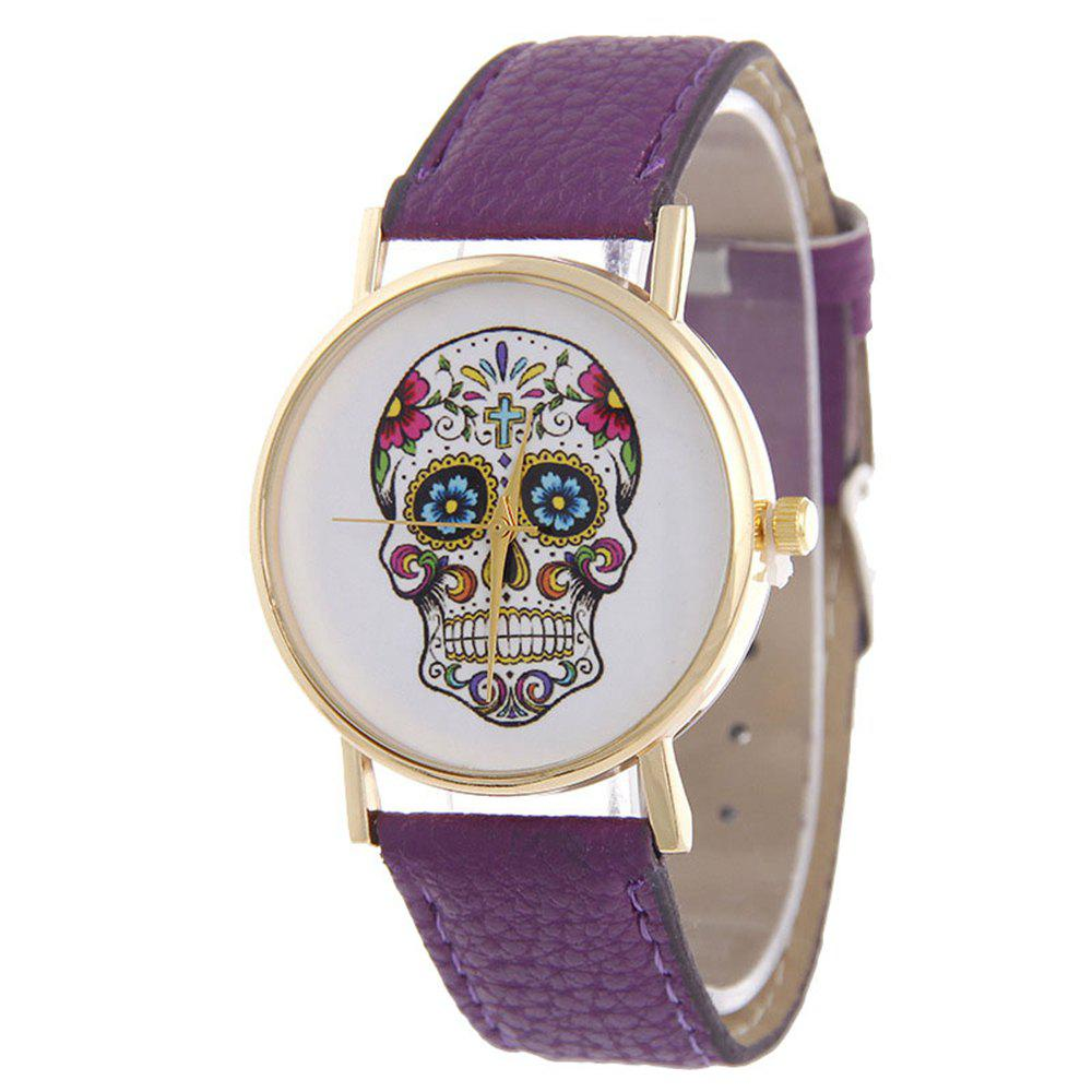 Casual Fashion Personality Leather Band Men Watch - PURPLE FLOWER
