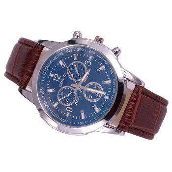 Geneva Blue Glass Men Leather Band Watch - PUCE