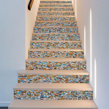 6pcs Personality Staircase Decoration Stickers - multicolor A 100X18CM