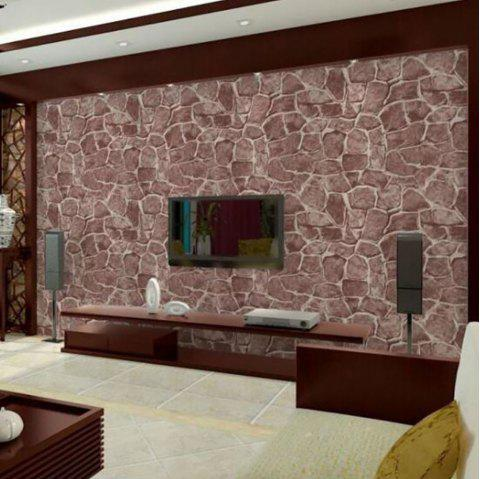 Wallpaper Brick With Plastic - RED WINE 45X100CM