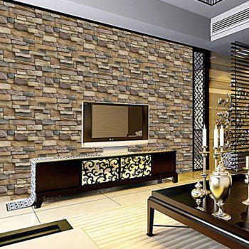Wallpaper Brick With Plastic - YELLOW 45X100CM