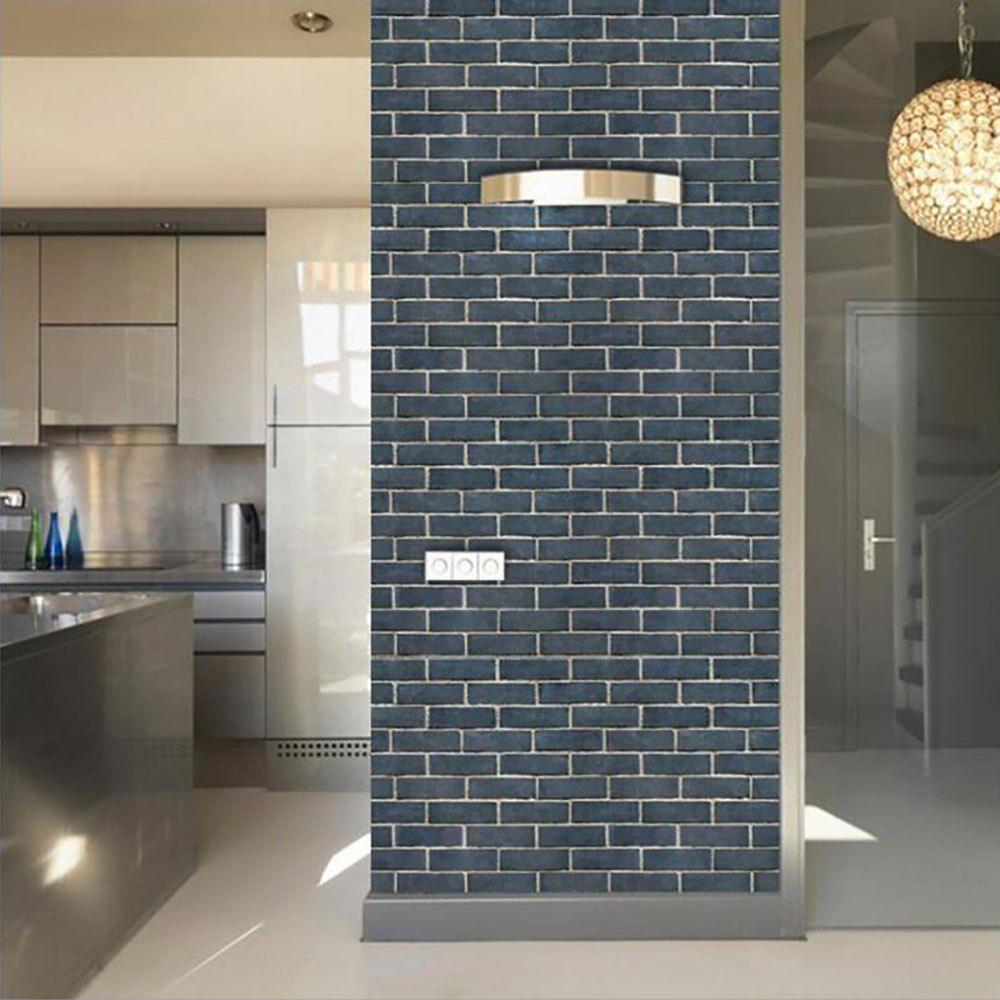Wallpaper Brick With Plastic - BLUE 45X100CM