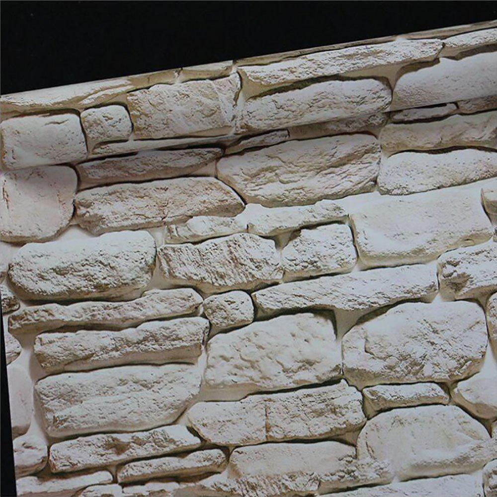 Wallpaper Brick With Plastic - WHITE 45X100CM