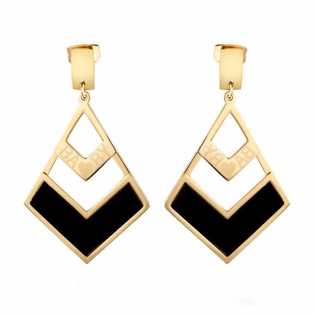 Women Geometric Titanium Steel Earrings Triangle - GOLDEN BROWN