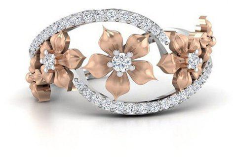 Rose Gold Flower with Diamond Ring - SILVER US SIZE 7