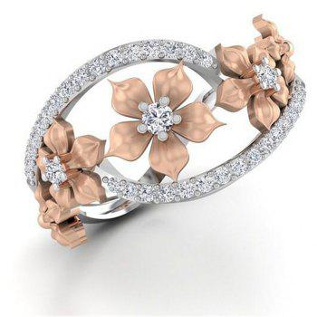 Rose Gold Flower with Diamond Ring - SILVER US SIZE 6