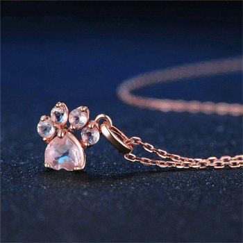 Fashion Item Decorated with Footprints Pink Diamond Pendant - ROSE GOLD