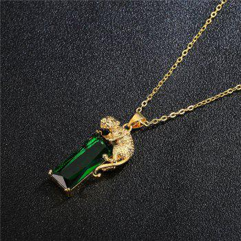 Green Crystal Drop Pendant - GOLD