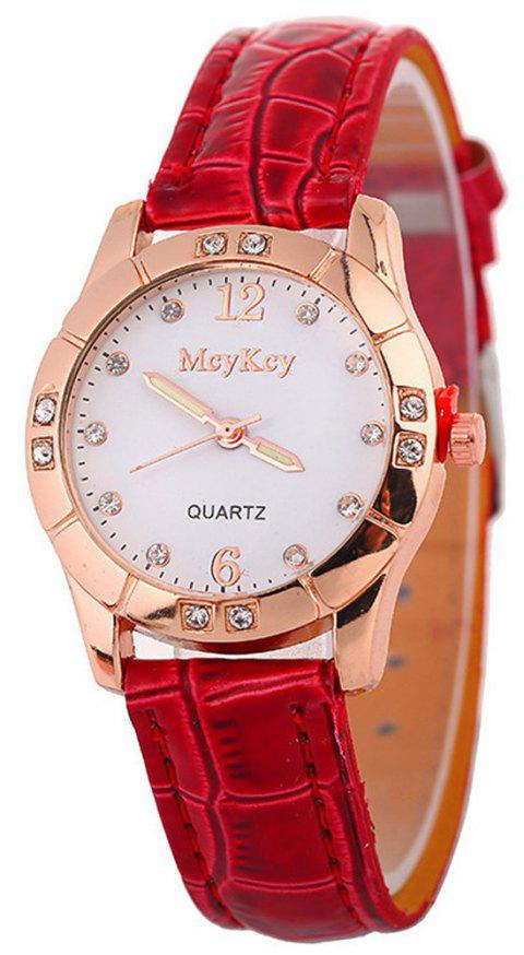Hot Leather Band Ladies Watches - RED
