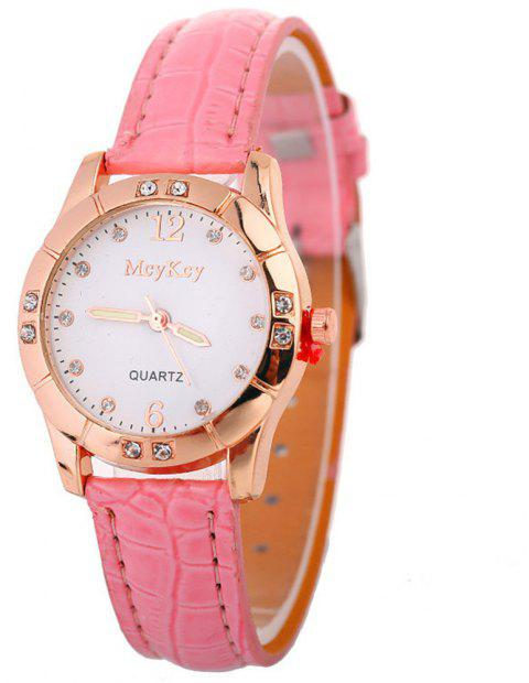 Hot Leather Band Ladies Watches - PINK