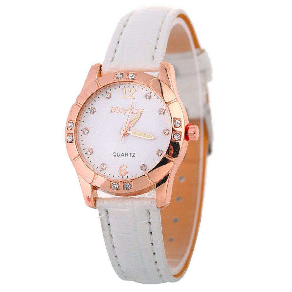 Hot Leather Band Ladies Watches - WHITE