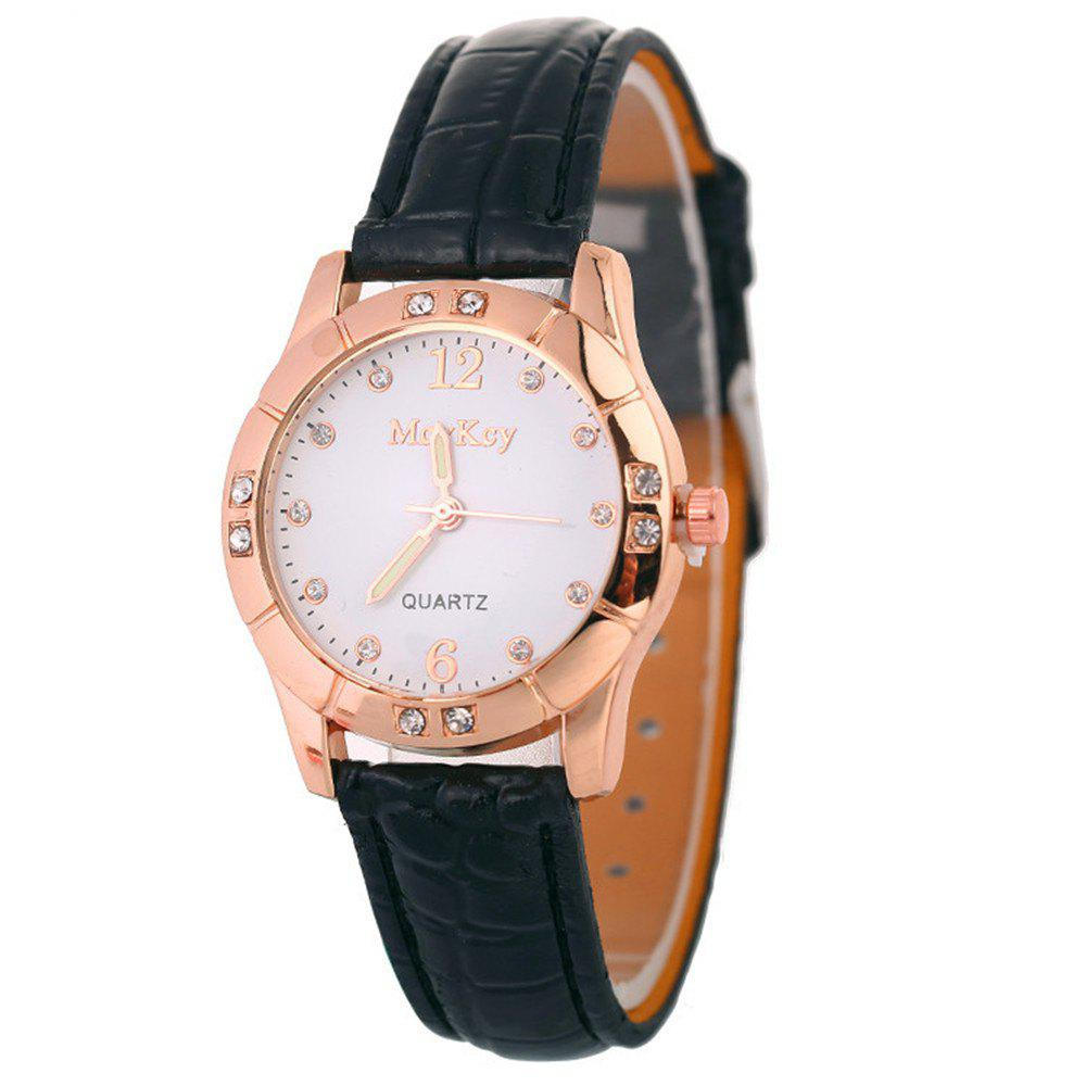 Hot Leather Band Ladies Watches - BLACK