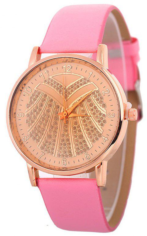 Hot Ladies Artificial Diamond Watch - PINK