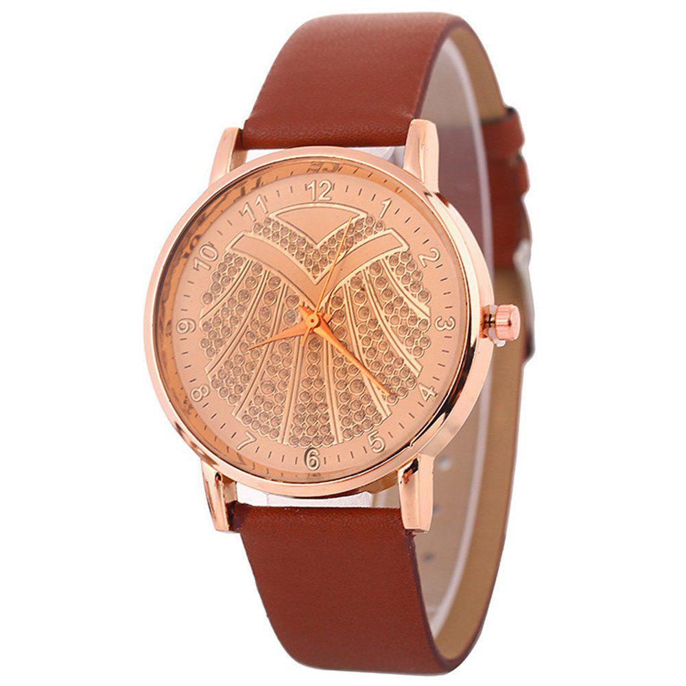 Hot Ladies Artificial Diamond Watch - BROWN