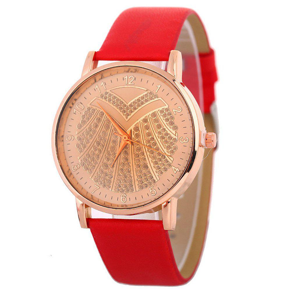 Hot Ladies Artificial Diamond Watch - RED