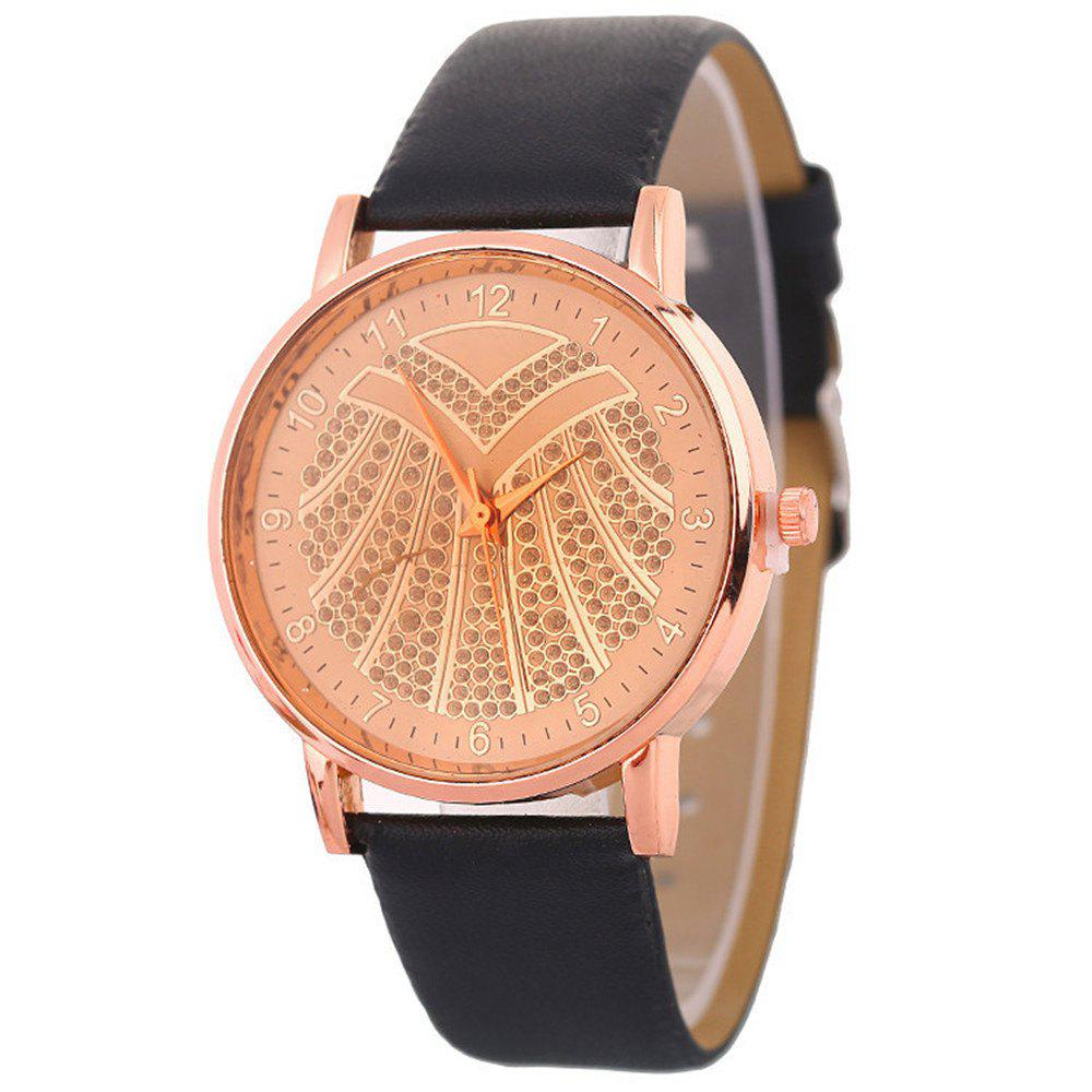 Hot Ladies Artificial Diamond Watch - BLACK