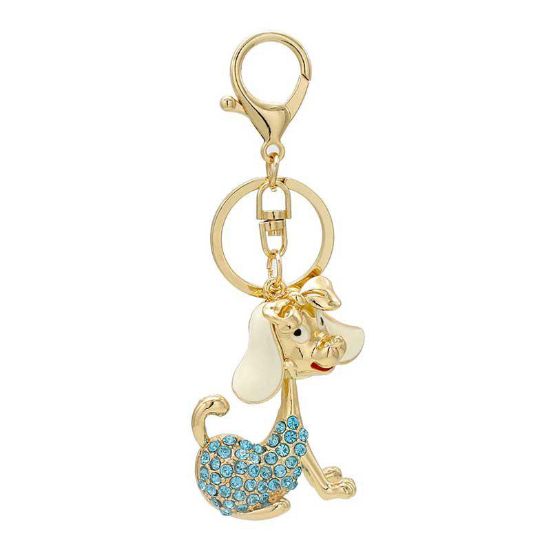 Creative Kawaii Dog Shape Decoration Rhinestone Key Chain - BLUE DIAMOND