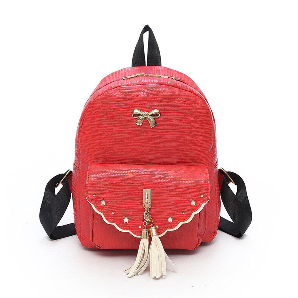 Fashion Wild Simple High-capacity PU Small Fresh Travel Backpack Tide - RED