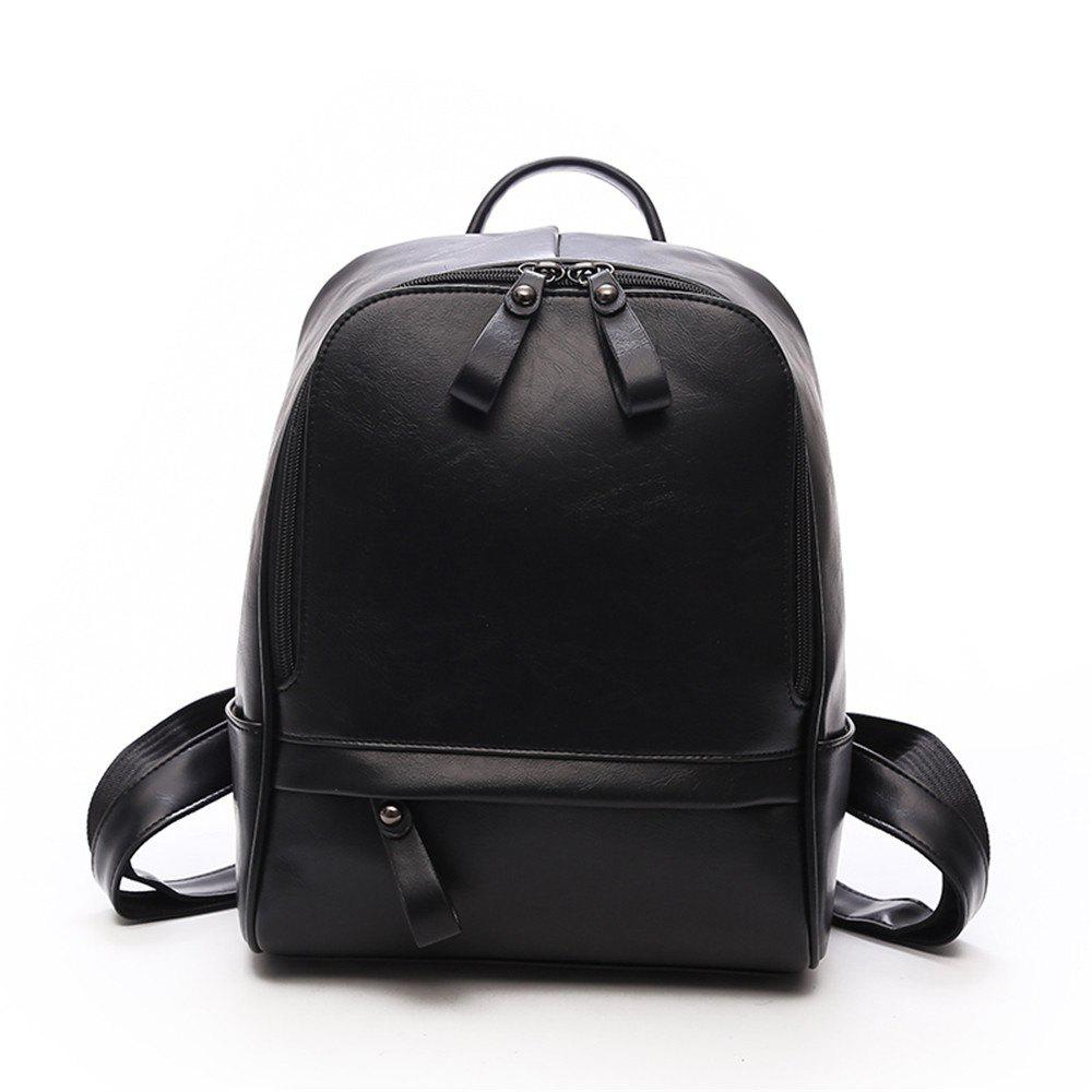 PU Large Capacity Wild Fashion Simple Ladies Travel Backpack Tide - BLACK