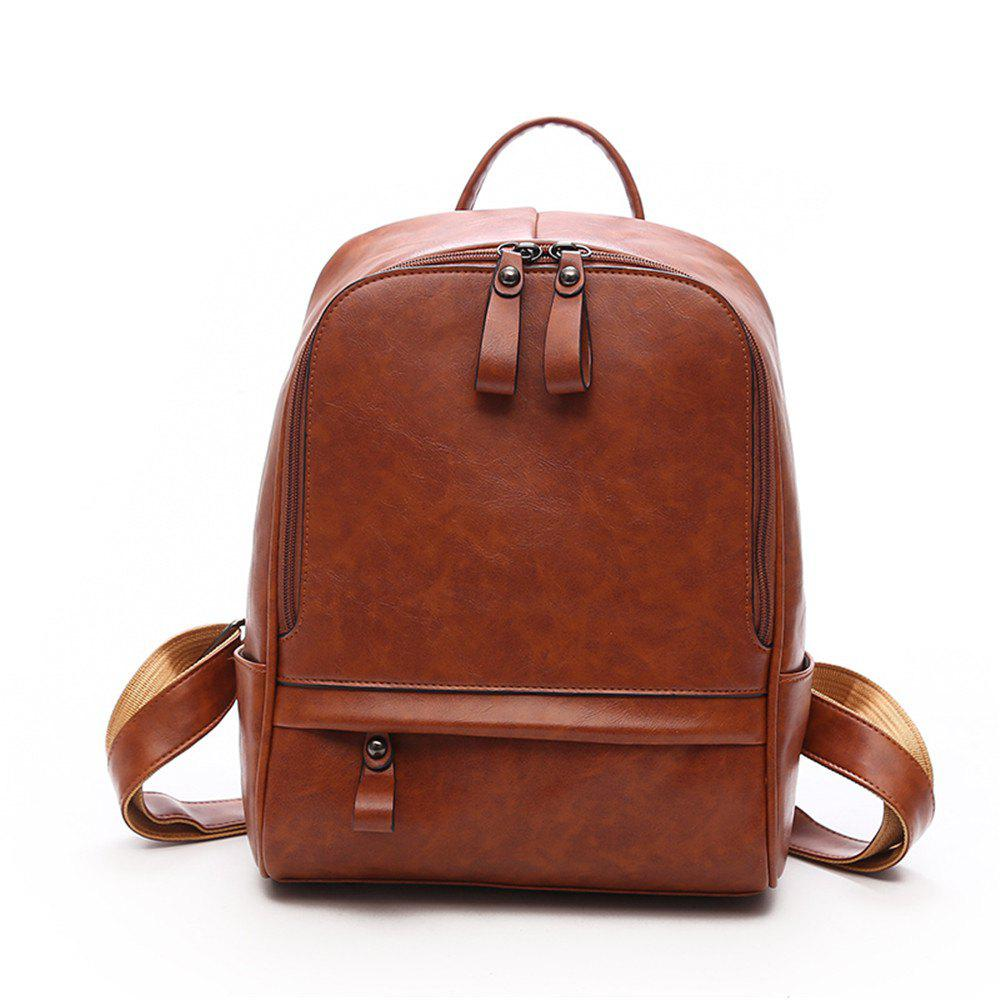 PU Large Capacity Wild Fashion Simple Ladies Travel Backpack Tide - BROWN