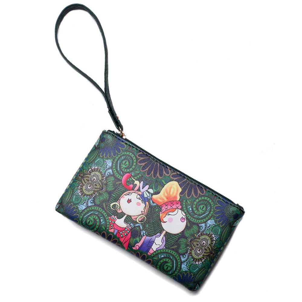 Fashion Painting Simple Wild Cute Female Clutch Bag Tide - GREEN