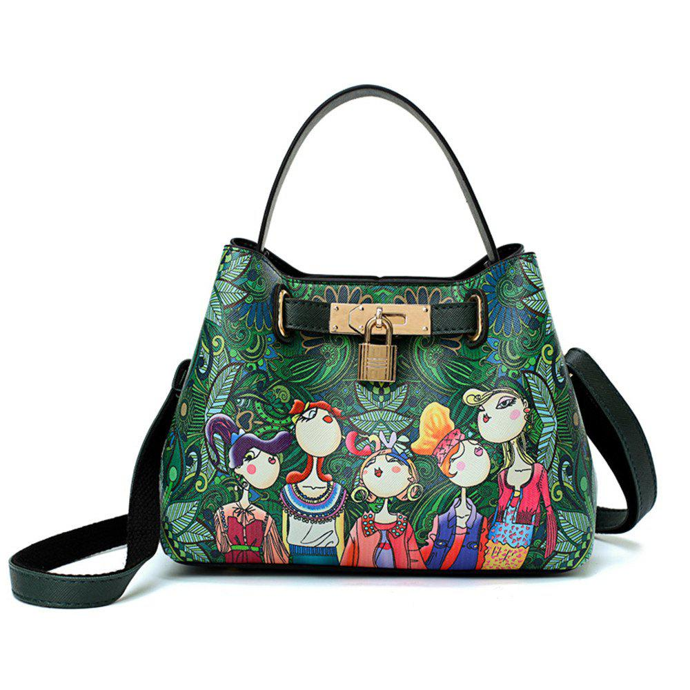 Fashion Tide Painted Cute Simple Wild Ladies Shoulder Messenger Bag - GREEN
