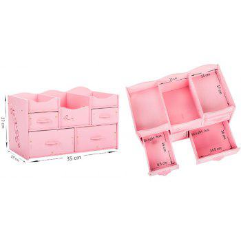 HECARE Plastic Makeup Organizer Waterproof Container Jewelry Container for Cosmetic High-capacity Make Up Storage Case - PINK 1PC