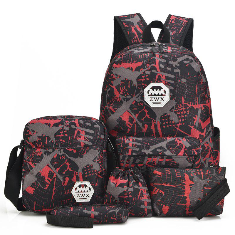 Fashion Travel Backpacks for Teenage Girls Casual School Backbag Camouflage Shoulder Bags - RED