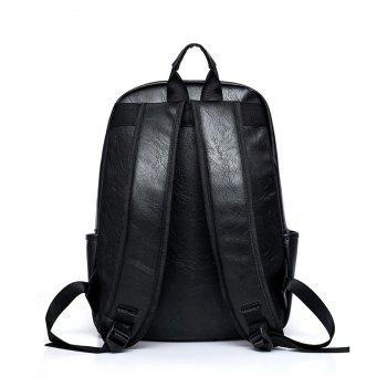 New Men'S Backpack PU High Quality 15.6 Inch Laptop Bag for Men Color Stitching Casual Rope Male Boy - BLACK