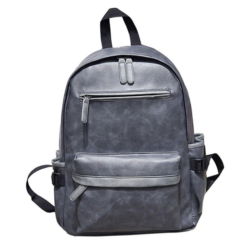 Preppy Style PU Leather School Backpack Bag For College Simple Design Men Casual Daypacks - SLATE GRAY