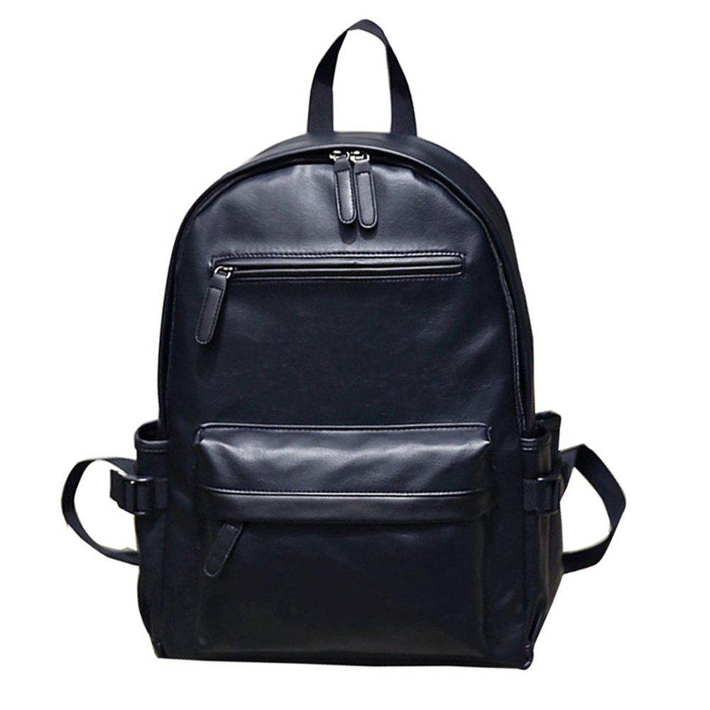 Preppy Style PU Leather School Backpack Bag For College Simple Design Men Casual Daypacks - BLACK