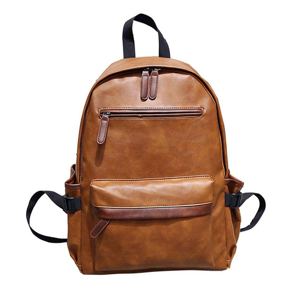 Preppy Style PU Leather School Backpack Bag For College Simple Design Men Casual Daypacks - SANGRIA