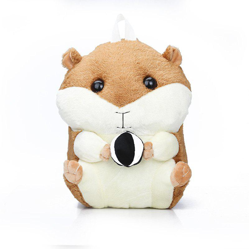 Cute Little Knapsack Double Shoulder  Hamster Cartoon Plush Girl Stuffed   Bag - CARAMEL
