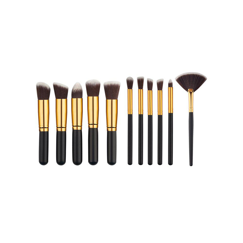 11PCS High Quality Professional Makeup Brushes with Fan Set - BLACK