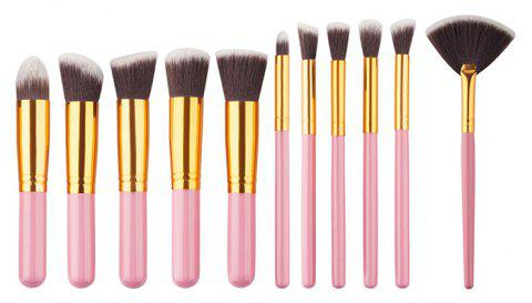11PCS High Quality Professional Makeup Brushes with Fan Set - PINK
