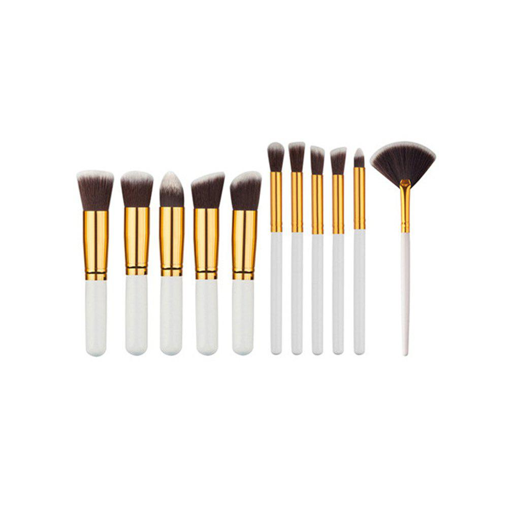 11PCS High Quality Professional Makeup Brushes with Fan Set - MILK WHITE