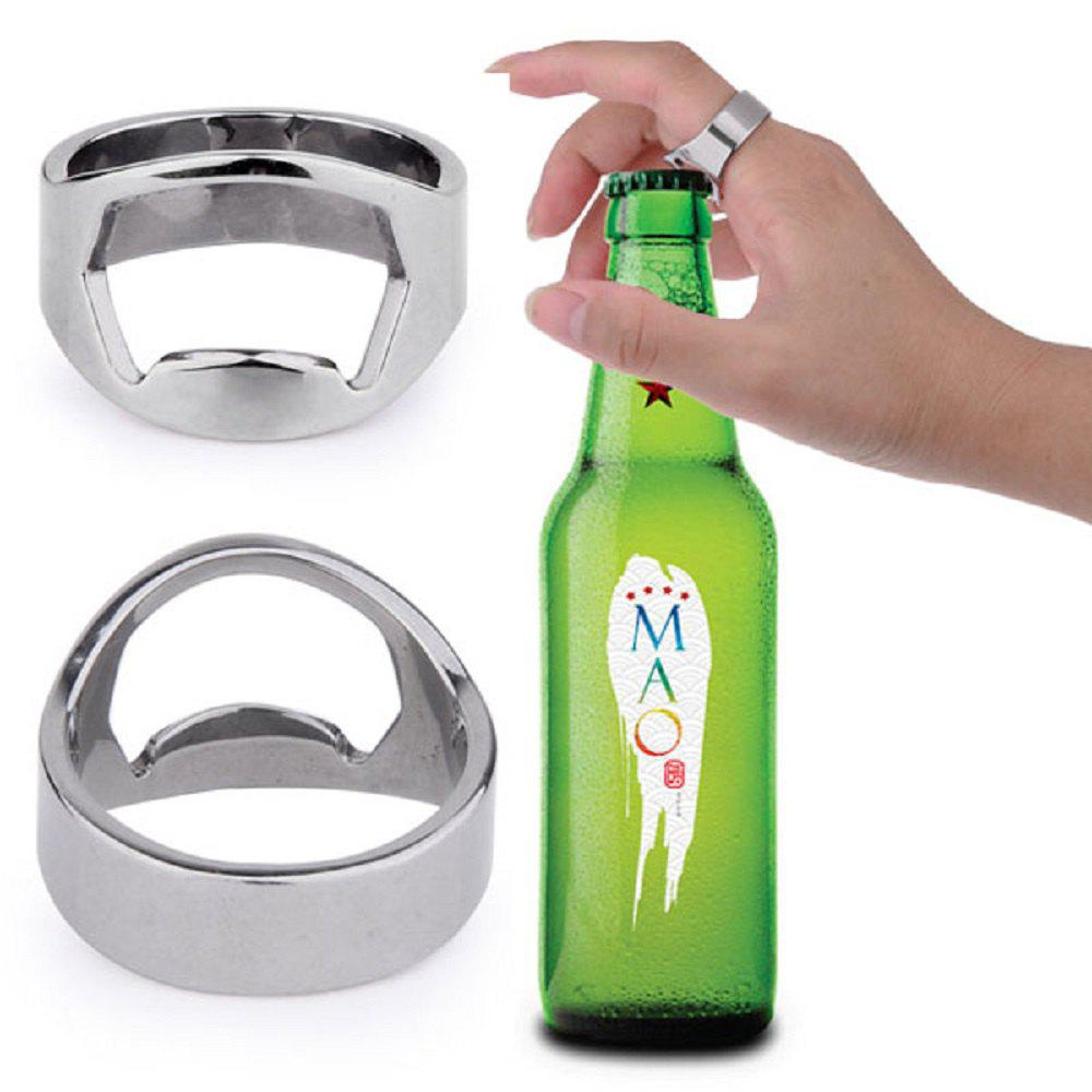 Creative Stainless Steel Beer Openers Finger Ring Ring-Shape Bottle Opener Bar Tools stainless steel can openers high quality bottle opener with handle