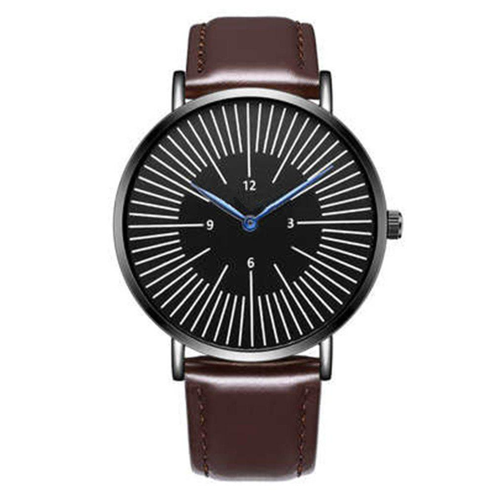Business Men Luxury Sports Leather Band Quartz Wrist Watch - BROWN