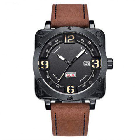 Sports Men Luxury Fashion Quartz Wrist Watch - BROWN