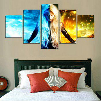 MailingArt FIV603  5 Panels Girl of Ghost Wall Art Painting Home Decor Canvas Print - multicolor 12 X 16INCH 2PCS + 12 X 24INCH 2PCS + 12 X 32INCH