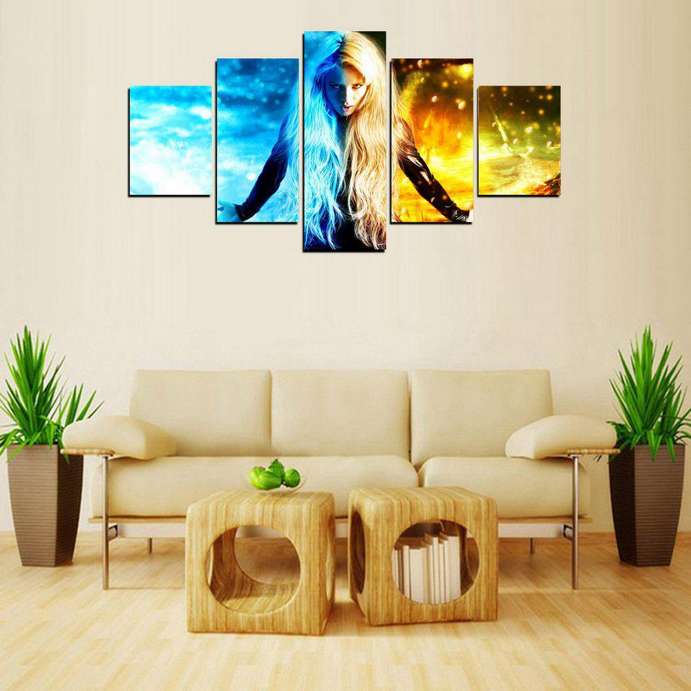 MailingArt FIV603  5 Panels Girl of Ghost Wall Art Painting Home Decor Canvas Print - multicolor 8 X 14INCH 2PCS + 8 X 18INCH 2PCS + 8 X 21INCH 1PC