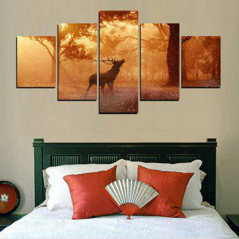 MailingArt FIV607  5 Panels Animal Wall Art Painting Home Decor Canvas Print - multicolor 8 X 14INCH 2PCS + 8 X 18INCH 2PCS + 8 X 21INCH 1PC